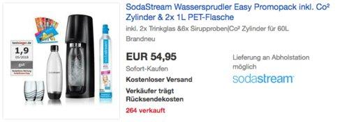 SodaStream Wassersprudler Easy Promopack inkl. Co² Zylinder, 2x 1L PET-Flasche, 2x Trinkglas und 6x Sirupproben - jetzt 19% billiger