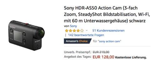 Sony HDR-AS50 Action-Cam (Full HD, 3-fach Zoom, SteadyShot Bildstabilisation, Wi-Fi) inkl. 60 m Unterwassergehäuse - jetzt 14% billiger