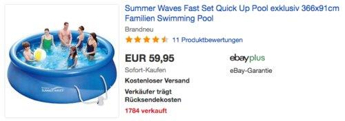 Summer Waves Fast Set Quick Up Pool 366x91cm, Familien-Swimmingpool mit Filterpumpe - jetzt 30% billiger