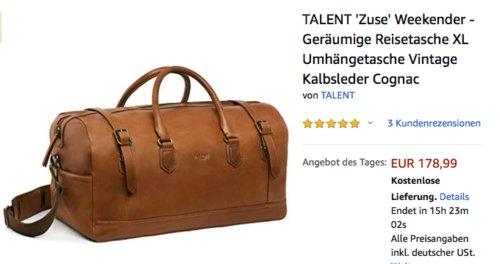 """TALENT """"Zuse""""  Weekender - Geräumige Reisetasche XL, Kalbsleder Cognac - jetzt 26% billiger"""
