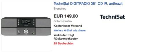 TechniSat DIGITRADIO 361 CD IR (WLAN, LAN, DAB+, DAB, UKW, CD-Player, Bluetooth, Radiowecker) - jetzt 22% billiger