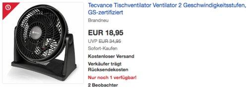 Tecvance Tischventilator, ca. 23 cm - jetzt 24% billiger