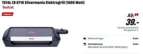 TEFAL CB6718 Silvermania Elektrogrill, 900 cm² Grillfläche - jetzt 13% billiger