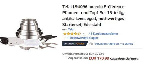 Tefal L94096 Ingenio Préférence Pfannen- und Topf-Set, 15-teilig - jetzt 18% billiger