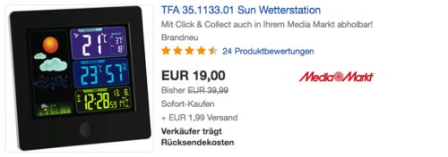TFA 35.1133.01 Sun Funk-Wetterstation, schwarz - jetzt 34% billiger