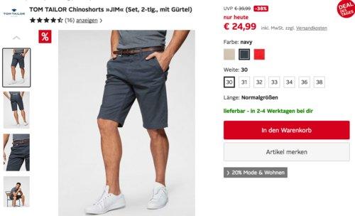 """TOM TAILOR Herren Chinoshorts """"JIM"""" mit Gürtel, versch. Farben und Größen - jetzt 25% billiger"""