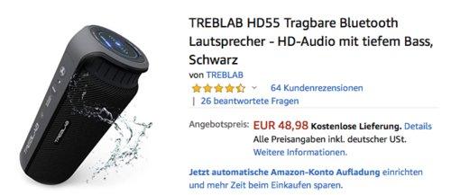 TREBLAB HD55 Bluetooth-Lautsprecher mit 360° HD-Sound, schwarz - jetzt 29% billiger