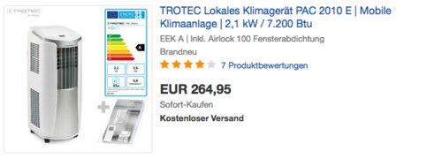 TROTEC PAC 2010 E 3-in-1-Klimagerät inkl. Airlock 100 Fensterabdichtung - jetzt 23% billiger