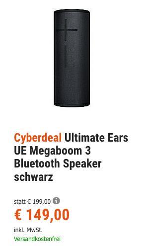 Ultimate Ears UE Megaboom 3 Bluetooth Lautsprecher schwarz, 360°-Sound - jetzt 10% billiger