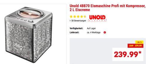 Unold 48870 Eismaschine mit Kompressor - jetzt 8% billiger