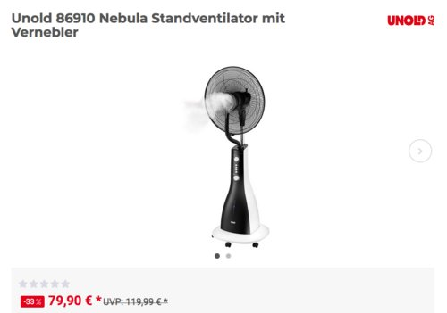 Unold 86910 Nebula Standventilator mit Vernebler - jetzt 6% billiger