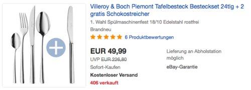 Villeroy & Boch Piemont Tafelbesteck 24tlg. + 2 gratis Schokostreicher - jetzt 29% billiger