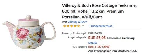 Villeroy & Boch Rose Cottage Teekanne, 600 ml - jetzt 13% billiger