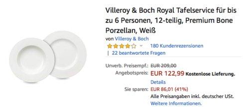 Villeroy & Boch Royal Tafelservice 12-teilig, Premium Bone Porzellan - jetzt 17% billiger