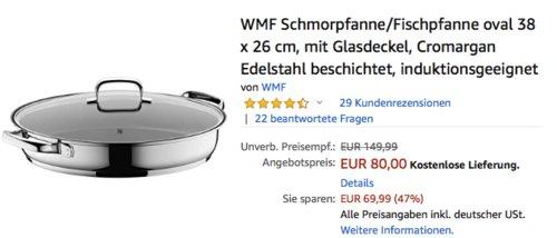 WMF 38 x 26 cm oval Schmorpfanne/Fischpfanne mit mit Glasdeckel - jetzt 10% billiger