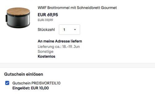 WMF Gourmet Brottrommel mit Schneidbrett, 32 x 13 cm - jetzt 24% billiger