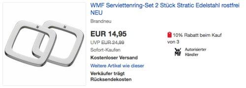 """WMF Serviettenring-Set """"Stratic"""", 2 Stück - jetzt 16% billiger"""