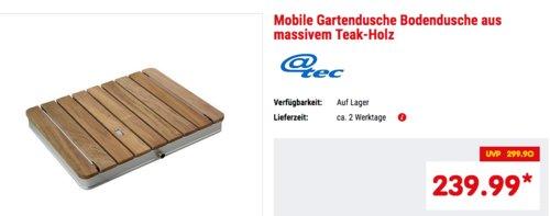 @tec Mobile Gartendusche/Bodendusche aus massivem Teak-Holz mit  3/4 Zoll Wasseranschluss - jetzt 14% billiger