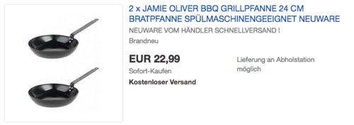 2x Jamie Oliver BBQ Grillpfanne 24 cm, Karbonstahl - jetzt 37% billiger