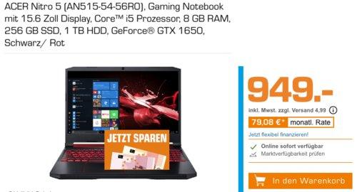 ACER Nitro 5 15.6 Zoll Gaming Notebook (i5, 8 GB RAM, 256 GB SSD, 1 TB HDD, GeForce® GTX 1650, Win 10 Home) - jetzt 5% billiger