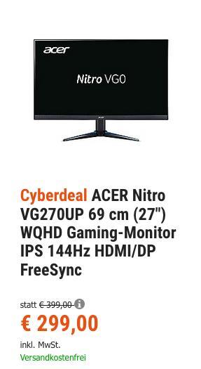 "ACER Nitro VG270UP 69 cm (27"") WQHD Gaming-Monitor (1 ms, 144Hz, HDMI/DP, FreeSync) - jetzt 18% billiger"