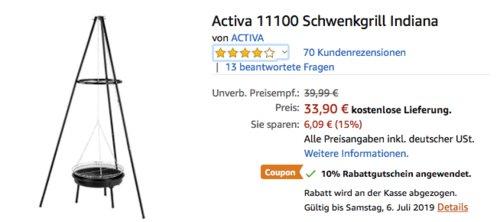 """Activa 11100 Schwenkgrill """"Indiana"""", Ø 46 cm Grillfläche - jetzt 10% billiger"""