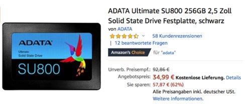 ADATA Ultimate SU800 256GB interne SSD-Festplatte - jetzt 26% billiger