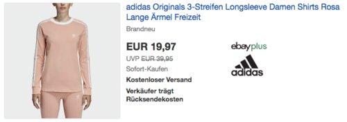 adidas Originals 3-Streifen Damen Longsleeve (32-42), rosa - jetzt 50% billiger