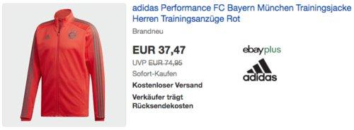 adidas Performance FC Bayern München Herren Trainingsjacke in Rot  (XS-2XL) - jetzt 26% billiger