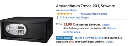 AmazonBasics 20 Liter Sicherheitstresor mit Elektronikschloss, 43 x 37 x 18 cm - jetzt 20% billiger