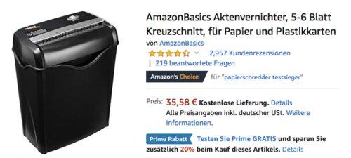 AmazonBasics Aktenvernichter AS665C - EU, 5-6 Blatt Kreuzschnitt - jetzt 20% billiger