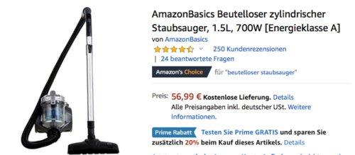 AmazonBasics Beutelloser zylindrischer Staubsauger, 700W - jetzt 20% billiger