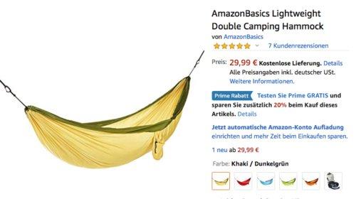 AmazonBasics Doppel-Camping-Hängematte bis zu 181,4 kg Tragkraft, versch. Fabren - jetzt 20% billiger