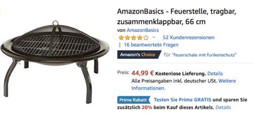 AmazonBasics - Feuerstelle mit Funkenschutz, 66 x 45 cm - jetzt 20% billiger