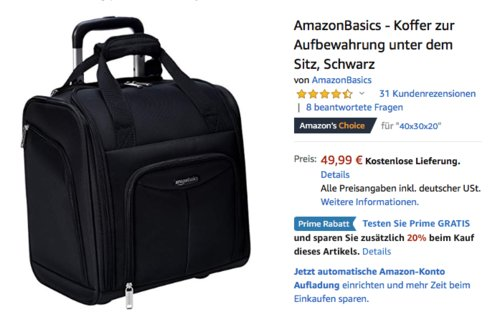 AmazonBasics - Koffer zur Aufbewahrung unter dem Flugzeugsitz, versch. Farben - jetzt 20% billiger