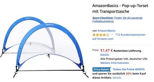 AmazonBasics - Pop-up-Torset mit Transporttasche, 1,21 m - jetzt 20% billiger