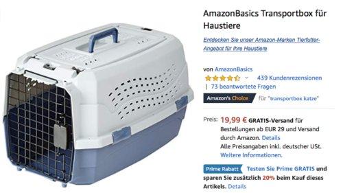 AmazonBasics Transportbox für Haustiere, 58 cm - jetzt 20% billiger