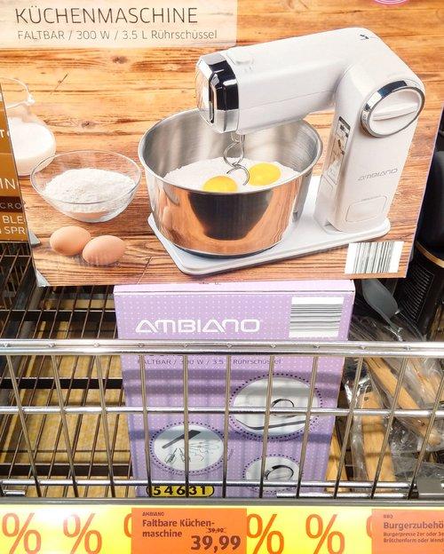 AMBIANO Faltbare Küchenmaschine,  Leistung ca. 300 W; inkl. 3,5 l Edelstahl-Rührschüssel - jetzt 33% billiger