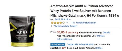 Amfit Nutrition Advanced Whey Protein Eiweißpulver mit Bananen-Milchshake-Geschmack, 984 g - jetzt 30% billiger