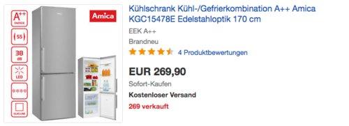 Amica KGC15478E Kühl-/Gefrierkombination, A++, 170 cm hoch - jetzt 10% billiger