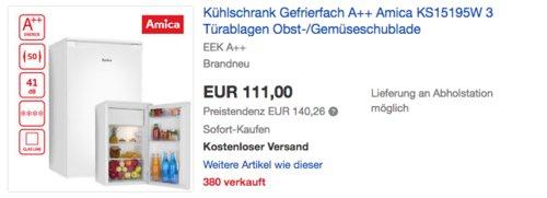 Amica KS 15195 W Kühl-Gefrier-Kombination A++, 84 cm hoch - jetzt 26% billiger