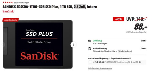 ANDISK SDSSDA-1T00-G26 SSD Plus 2.5 Zoll 1 TB interne SSD-Festplatte, - jetzt 9% billiger