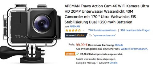 APEMAN Trawo A100 Action Cam mit wasserdichtem Gehäuse (Echte 4K Video, 20MP, 170 ° Ultra-Weitwinkel) - jetzt 20% billiger