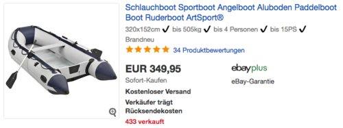 ArtSport Schlauchboot/Angelboot für bis zu 4 Personen, max. 505kg Beladung - jetzt 8% billiger