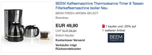Beem Fresh-Aroma-Select Filterkaffeemaschine inkl. Isolierkanne, 1000 W - jetzt 29% billiger