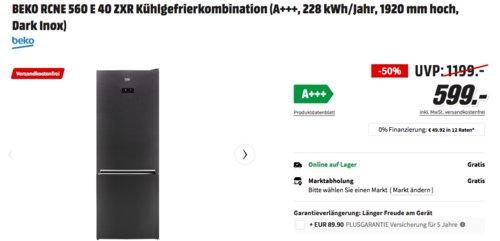 BEKO RCNE560E40ZXR Kühl-/Gefrierkombination (A+++, 192 cm hoch, Dark Inox) - jetzt 19% billiger