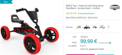 """BERG Toys - Pedal Go-Kart """"Berg Buzzy Red-Black"""" (Limited Edition) - jetzt 8% billiger"""