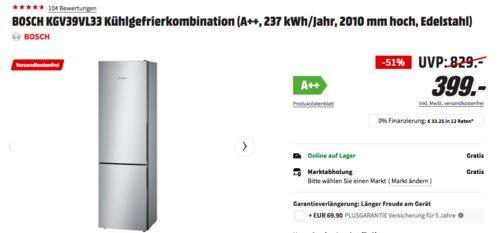 BOSCH KGV39VL33 Kühlgefrierkombination, A++, 201 cm hoch - jetzt 20% billiger