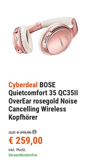 BOSE Quietcomfort 35 QC35II Noise Cancelling Wireless Kopfhörer, Limited Edition RoseGold - jetzt 13% billiger