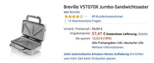Breville VST070X Jumbo-Sandwichtoaster, 850 Watt - jetzt 22% billiger